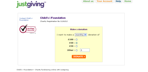 Donate to Child's i Foundation using Justgiving